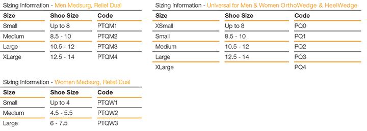 Darco PegAssist Insole Size Guide